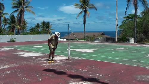 Marking out the court, Day 1